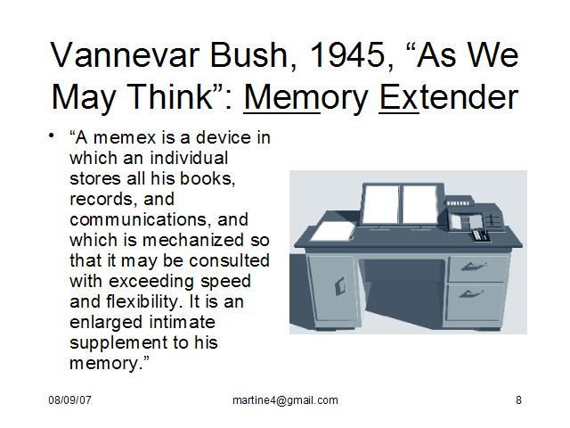 What invention did vannevar bush write about in 1945 essay